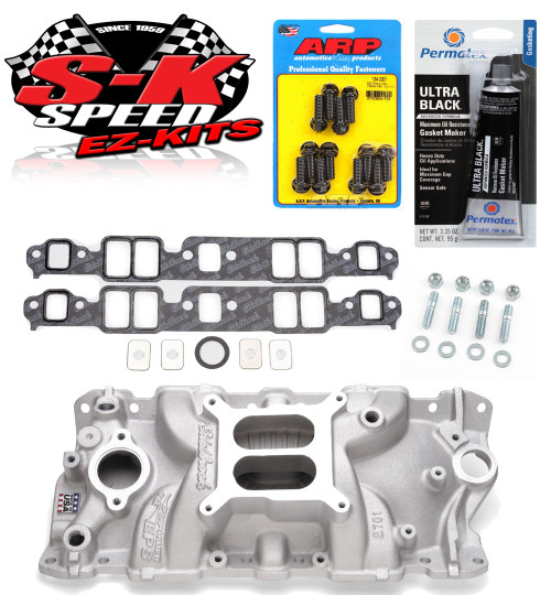 Edelbrock 2701 Small Block Chevy Performer Intake Manifold w/Bolts/Gaskets/RTV