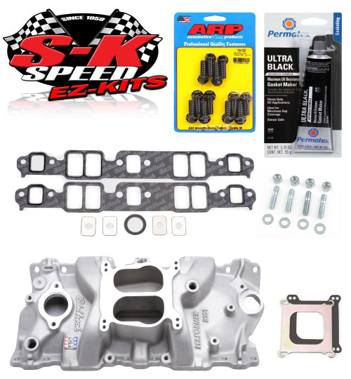 Edelbrock 2101 Small Block Chevy Performer Intake Manifold w/Bolts/Gaskets/RTV