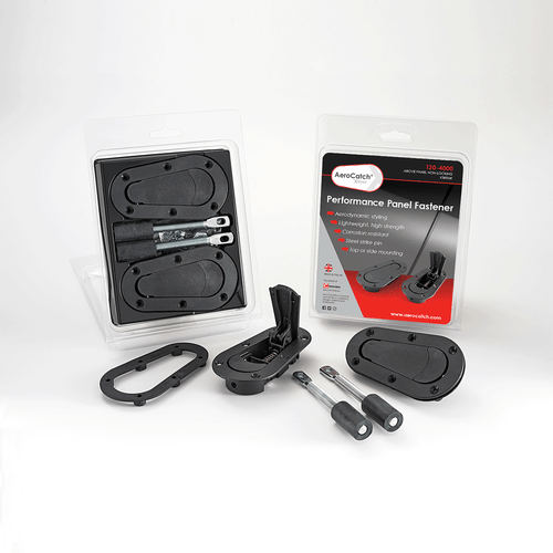 AeroCatch 120-4000 Xtreme Flush Plus Black Hood Pin Latch w/ Steel Pins Pair