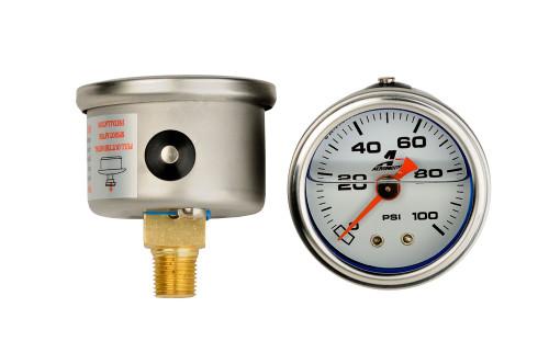 """Aeromotive 15633 Fuel Pressure Gauge Liquid Filled - 0-100psi - 1.5"""" Diameter"""