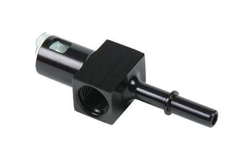 "Aeromotive 15120 5/16"" Quick Connect Fuel Line Fuel Block - 6AN Port + 1/8"" Port"