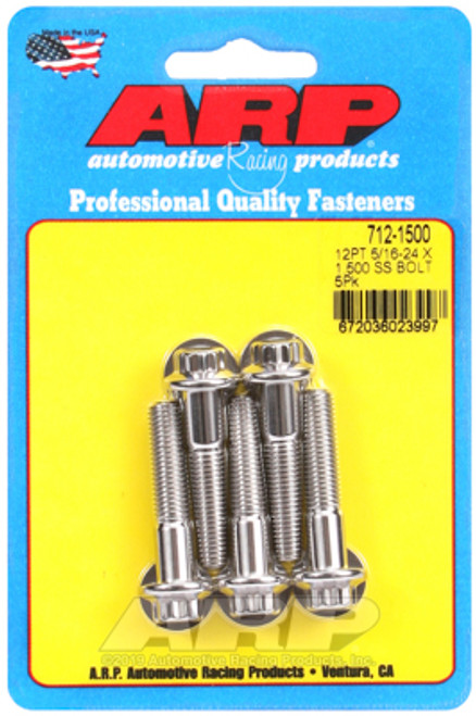 "ARP 712-1500 Stainless Steel Bolts 12 Point Head - 5/16""-24 - 1.500"" UHL 5 Pack"