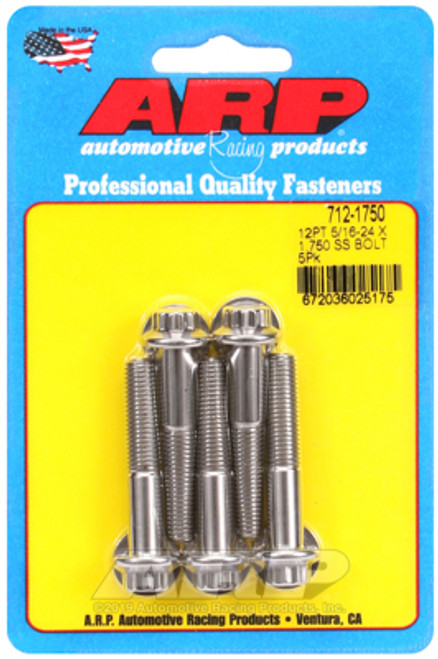 "ARP 712-1750 Stainless Steel Bolts 12 Point Head - 5/16""-24 - 1.750"" UHL 5 Pack"