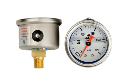 "Aeromotive 15632 0-15psi Liquid Filled Fuel Pressure Gauge - 1/8"" NPT"
