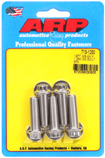 "ARP 713-1250 Stainless Steel Bolts 12 Point Head - 3/8""-24 - 1.250"" UHL 5 Pack"
