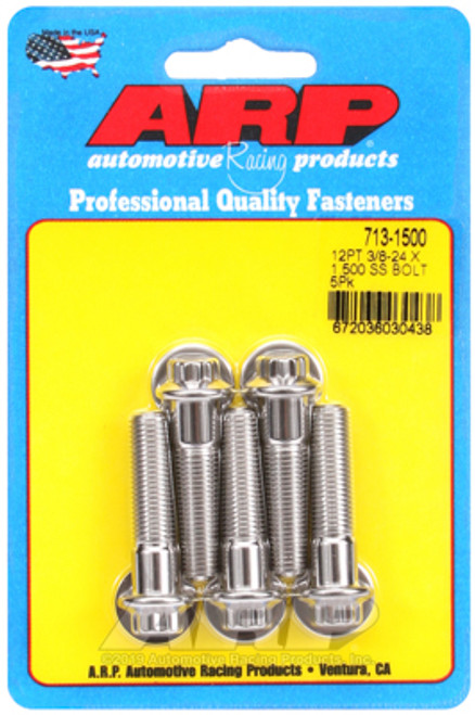 "ARP 713-1500 Stainless Steel Bolts 12 Point Head - 3/8""-24 - 1.500"" UHL 5 Pack"