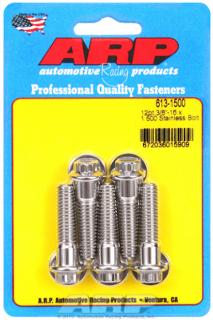 "ARP 613-1500 Stainless Steel Bolts - 12 Point Head - 3/8""-16 - 1.500"" UHL 5 Pack"