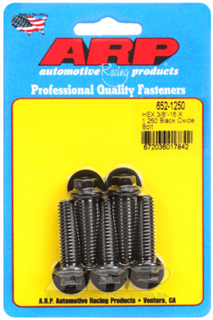 "ARP 652-1250 Black Oxide Bolts 3/8 Hex Head - 3/8""-16 - 1.250"" UHL 5 Pack"