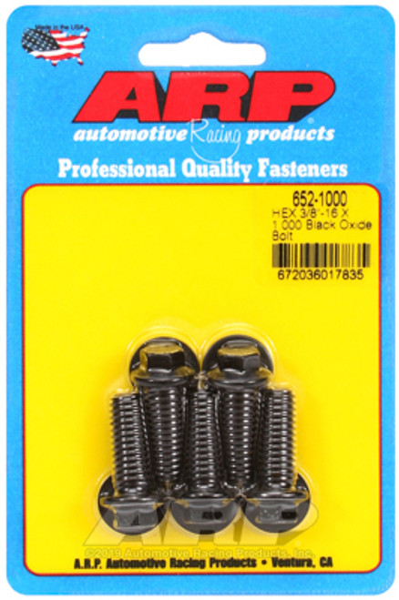 "ARP 652-1000 Black Oxide Bolts 3/8 Hex Head - 3/8""-16 - 1.000"" UHL 5 Pack"
