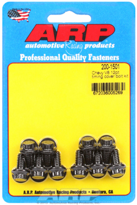 ARP 200-1501 Timing Cover Bolts Chevy Small Block/Big Block 12-Point Head Black