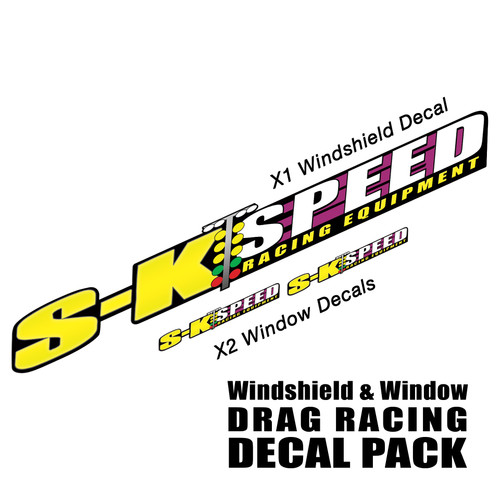 SK Speed Windshield Sticker & (2) Side Window Stickers