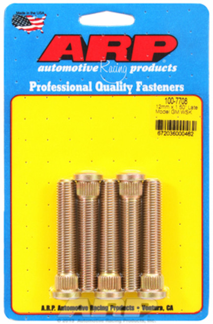 "ARP 100-7708 Extended Wheel Studs GM Late Model M12x1.50 2.500"" UHL .509 Knurl"