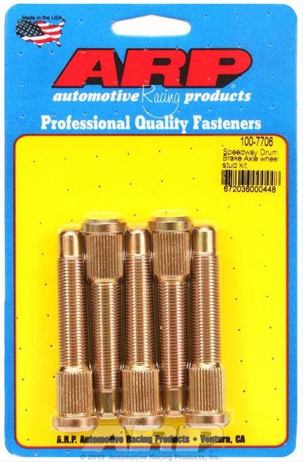 "ARP 100-7706 Extended Wheel Studs - Speedway Drum  - .568"" Knurl 1/2"" Thread"