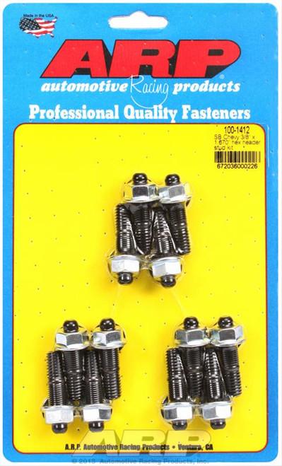 "ARP 100-1412 3/8"" Header Stud Kit Small Block Chevy - Hex Head 12pc 1.670"" UHL"