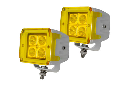 Race Sport RSPRSSS3X3PR-W WHITE- Street Series 3x3 4-LED Cube Spot Light (Pair)