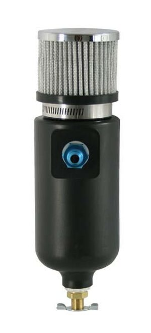 Moroso 85402 Plastic Breather Tank - Black - Filtered - 10AN Male Fitting - 1 Qt