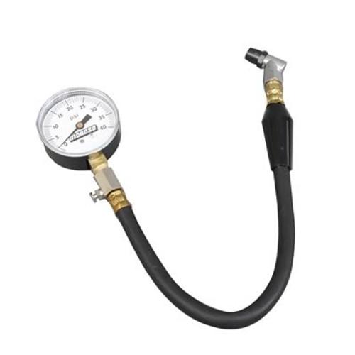 "Moroso 89555 Tire Pressure Gauge - Dial Type - 2-5/8"" White Face - 0-40psi"