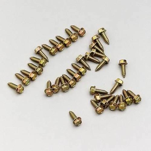 """Moroso 90100 Gold Iridited Rim Screws - Set of 35 - .250"""" Diameter - .750"""" Long"""
