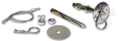 "Moroso 39020 Steel Chrome Hood Pins - 1/2"" Diameter - Pair - With Lanyards"