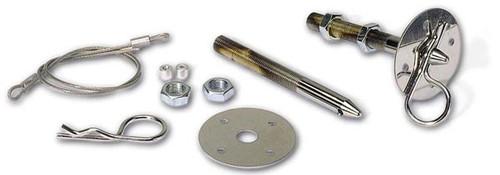 "Moroso 39021 Steel Chrome Hood Pins - 7/16"" Diameter - Pair - With Lanyards"