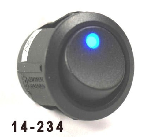 K4 Switches 14234 Off-on Round Rocker Switch with LED Blue Dot