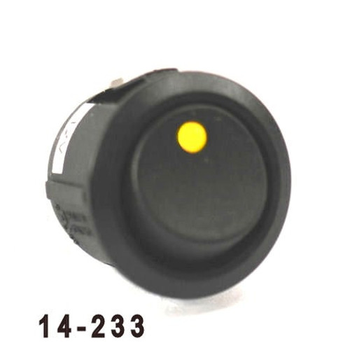 K4 Switches 14233 Off-on Round Rocker Switch with LED Amber Dot