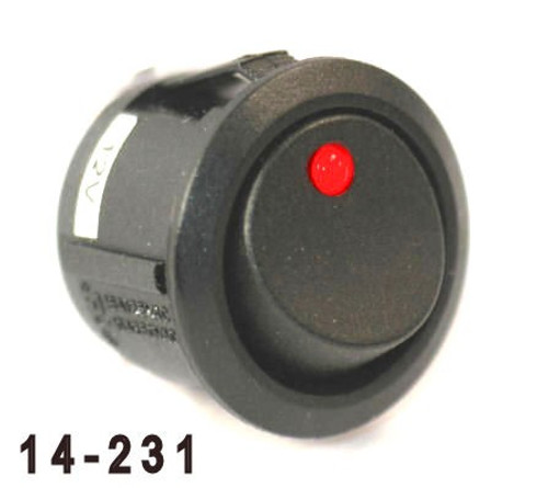 K4 Switches 14231 Off-On Round Rocker Switch with Red Dot