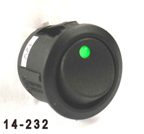 K4 Switches 14232 Off-On Round Rocker Switch with Green Dot