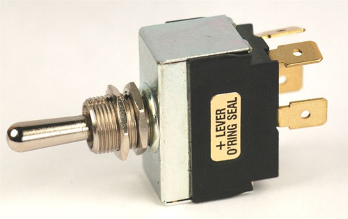 K4 Switches 12203 On-Off-On Double Pole Metal Lever Switch with Tab Terminals