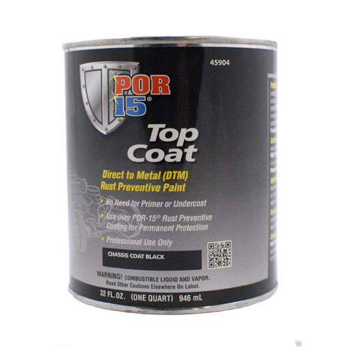 POR 15 45904 Semi-Gloss Chassis Coat Black - Top Coat Over POR-15 - Quart