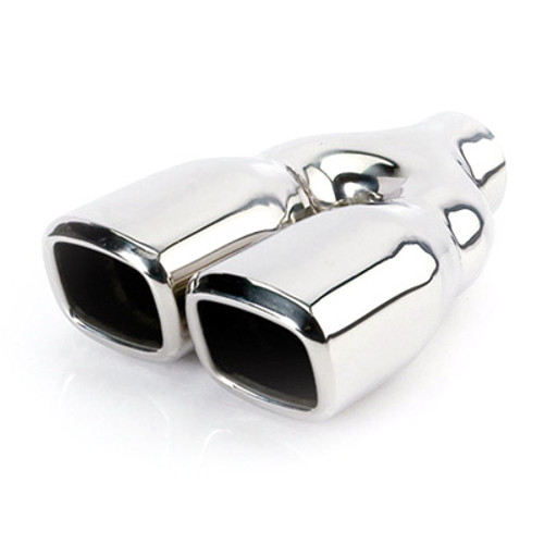 "ETC DT-24022DL Stainless Exhaust Tip Square 2.25"" Inlet Dual 3.2"" Outlet 9.5"" L"