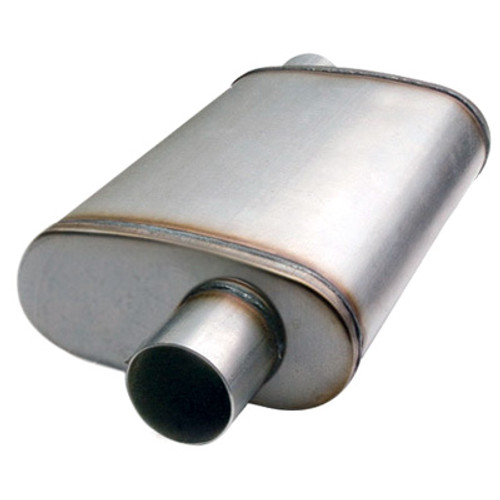 """ETC 49225 Performance Muffler - Stainless - Offset/Center - 2.25"""" In/Out"""