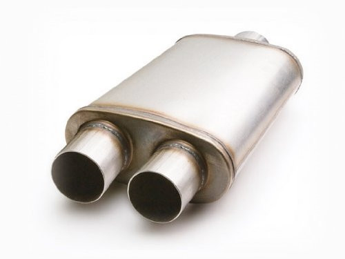 """ETC 49268 Performance Muffler - Stainless Single Inlet/Dual Outlet - 2.5"""" In/Out"""