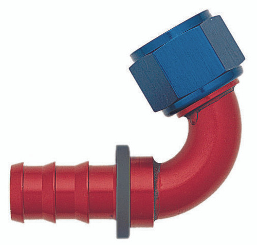 XRP 231206 Push-On -6AN 120-Degree Female Hose End - Red/Blue Anodized