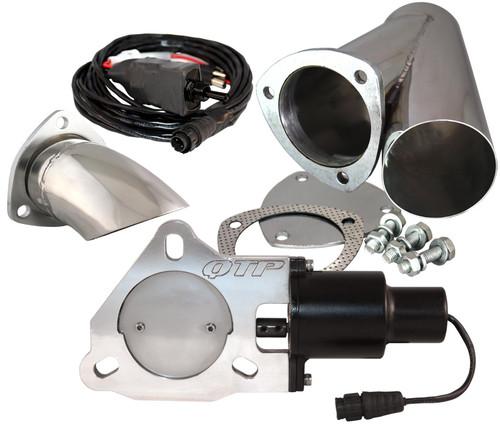 "QTP QTEC30CPK1 3"" Electric Exhaust Cutout 3-Bolt Flange - Y-Pipe & Turn Down"