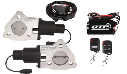 "QTP QTEC45K Dual 2.25"" Electric Exhaust Cutout 3-Bolt  with Wireless Remotes"