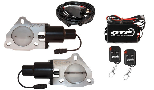 "QTP QTEC60K Dual 3"" Electric Exhaust Cutout 3-Bolt  with Wireless Remotes"
