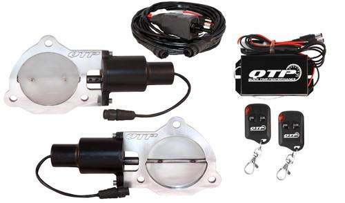 "QTP QTEC70K Dual 3.5"" Electric Exhaust Cutout 3-Bolt  with Wireless Remotes"
