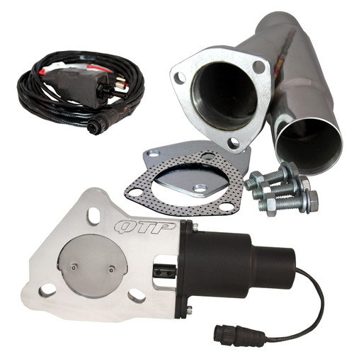 """QTP QTEC225CP 2.25"""" Electric Exhaust Cutout 3-Bolt Flange With Stainless Y-Pipe"""
