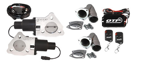 """QTP QTEC45CPK 2.25"""" Electric Cutouts 3-Bolt Stainless Y-Pipes Wireless Remotes"""