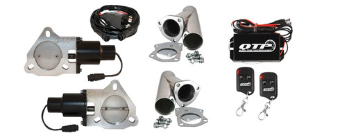 """QTP QTEC60CPK 3"""" Electric Cutouts 3-Bolt Stainless Y-Pipes Wireless Remotes"""