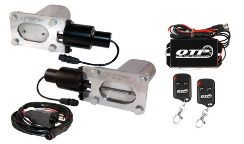 QTP QTEC66K Low Profile Oval Electric Exhaust Cutouts With Wireless Remotes