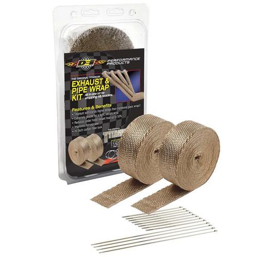 "DEI 010095 Titanium Exhaust Wrap Kit Includes 2 Titanium 2"" x 50' rolls, locking ties and free locking tool"