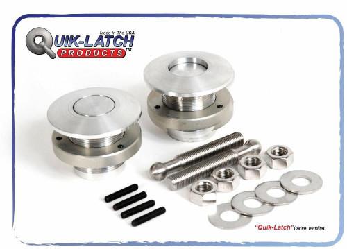Quik Latch QL-50-LP Low Profile Push Button Billet Hood Pins - Satin - Pair