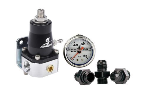 Aeromotive 13130 EFI Fuel Pressure Regulator Kit 30-70psi 6AN ORB with Gauge