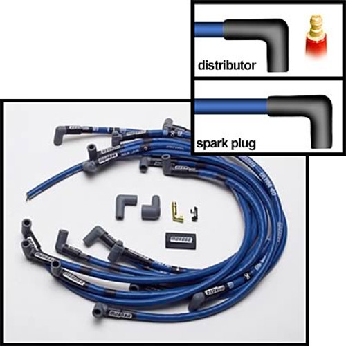 Moroso 73602 Ultra 40 Sleeved 8.65mm Spark Plug Wires - Small Block Chevy - Blue