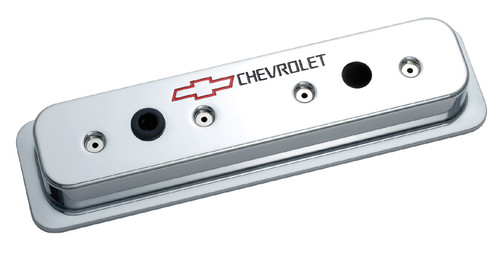 Proform 141-132 Small Block Chevy Centerbolt Tall Aluminum Valve Covers - Chrome