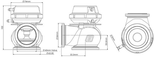Turbosmart TS-0506-1041 Hyper-Gate 45mm Wastegate - Black - 14psi V-Band Flange