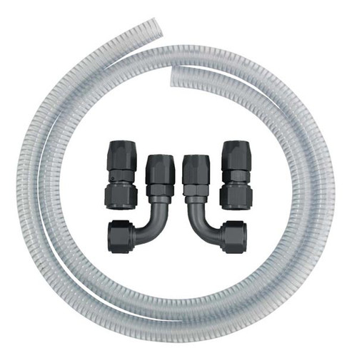 Moroso 22649 Vacuum Pump Line Kit - 6ft Clear Hose - 12AN Straight/90 Fittings