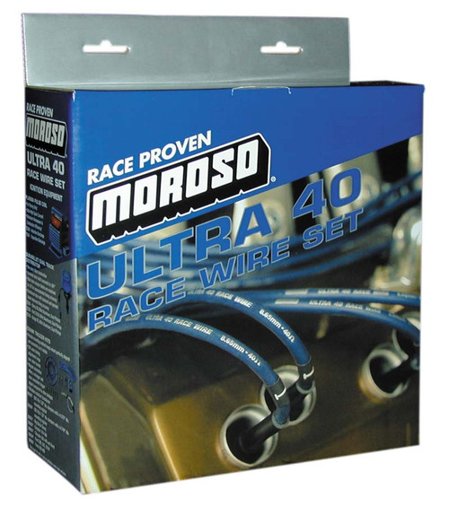 Moroso 73802 Ultra 40 8.65mm Spark Plug Wires Universal 135 Degree Boots - Blue